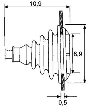 allpa Kabeldoorvoer / Balg zonder montagering, gatmaat Ø70mm, H=109mm, zwart