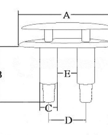 allpa RVS Verzinkbare klamp, A=126mm, B=64mm, C=22mm, D=46mm, E=22mm