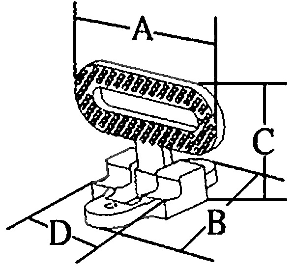 allpa RVS 316 Klapbare voetsteun, A=111mm, B=126mm, C=100mm, D=48mm, max. 180kg
