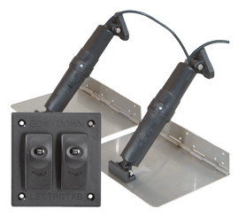 Elektrische trim tab set  9x9  12V (boot 14'-18'/4-5 5m) incl. bedienpaneel (double rocker switch)