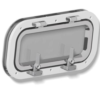 Goïot Patrijspoort openklapbaar model Cristal 33.13R  voor wanddikte 20-28mm  buitenmaat 400x200mm