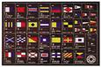 Internat.vlaggenset (Engels) op luxe houten paneel 40 x 30cm