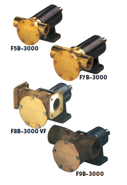 Johnson Pump impellerpomp F9B-3000TSS  389l/min  voetmontage (met mechanical seal & RVS Deksel)