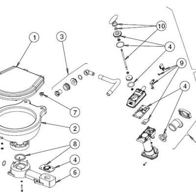Johnson Pump inlaatknie met seal voor scheepstoilet Johnson compact model