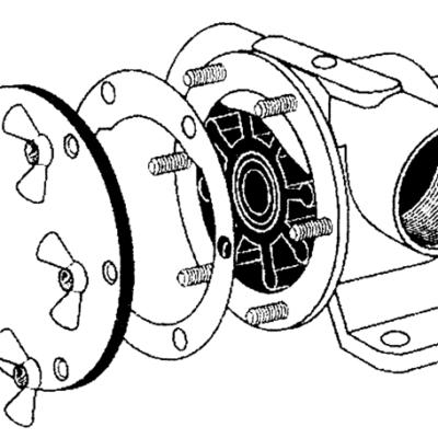 Johnson Pump set(A)  RVS vleugelmoeren Pinwing & draadeind  set A (6st. 8/32 x M4)