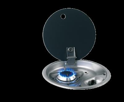 Kookplaat rond 1-pits Gas Inbouw Glasplaat Ø340mm hoogte130mm extern 35mm in