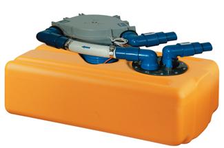 Kunststof Vuilwatertank 41Ltr 650 x 390 x 200mm met 12V- membraampomp
