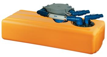 Kunststof Vuilwatertank 54Ltr 850x200x390mm met membraam pomp 12V