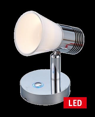 LED Wand-Leeslamp  10-30V; Alum.; dimbaar met schakelaar