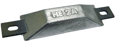 Navalloy European Style Hull Anode; 100mm x 34mm