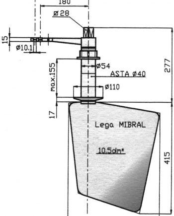Radice Bronzen Roer type 14 /10P  voor vlakke bodem. bootlengte: 8-12m