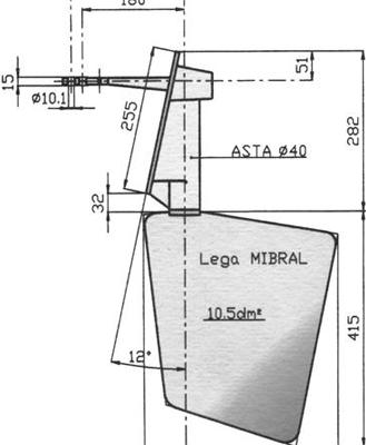 Radice Bronzen Roer type 14 /10S 0° voor spiegelmontage. bootlengte: 8-12m