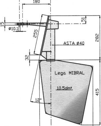 Radice Bronzen Roer type 14 /10S 12°  voor spiegelmontage. bootlengte: 8-12m