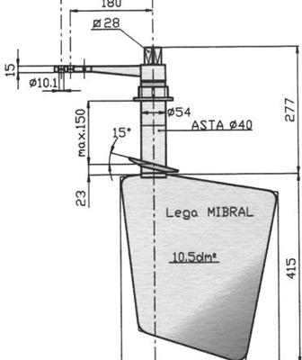 Radice Bronzen Roer type 14 /10v  voor v-bodem. bootlengte: 8-12m