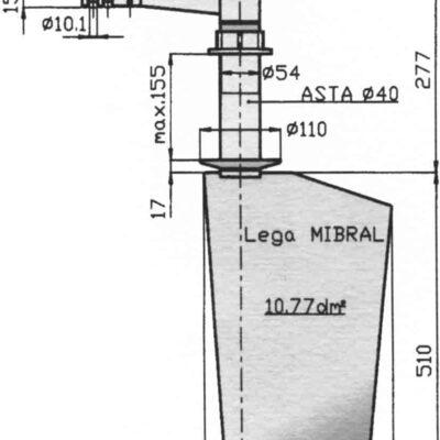 Radice Bronzen Roer type 16 /11P  voor vlakke bodem. bootlengte: 8-12m