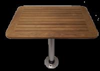 Tafel Teak 550x800x25mm set met poot (H=686mm) en voet *