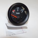 Tankmeter 24v Zwart voor Art. 482151-482165 (12v+weerstand!)