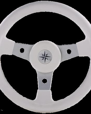 allpa 3-Spaaks stuurwiel Delfino zilver aluminium met witte vinyl rand  A=340mm  B=95mm
