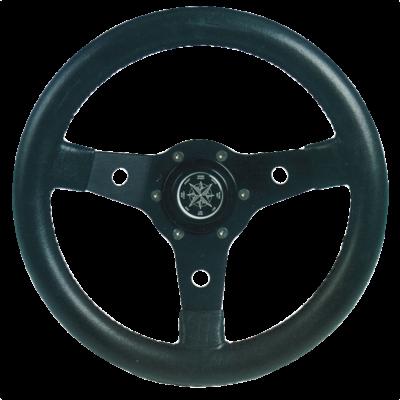 allpa 3-Spaaks stuurwiel Delfino zwart aluminium met zwarte vinyl rand  A=310mm  B=95mm