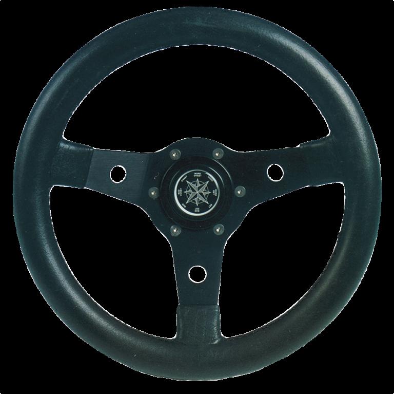 allpa 3-Spaaks stuurwiel Delfino zwart aluminium met zwarte vinyl rand  A=340mm  B=95mm