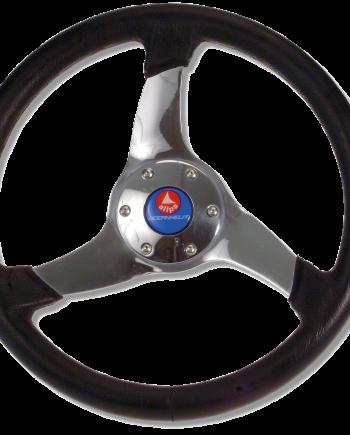 allpa 3-Spaaks stuurwiel Elica RVS met zwarte polyurethaan rand  A=350mm  B=95mm