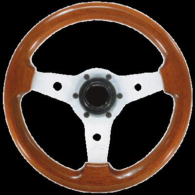 allpa 3-Spaaks stuurwiel Imola zilver aluminium met mahoniehouten rand  A=310mm  B=80mm