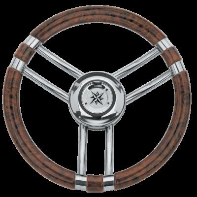 allpa 3-Spaaks stuurwiel Model 22 RVS met Wortelnotenhout-look rand  A=350mm  B=60mm