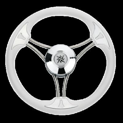 allpa 3-Spaaks stuurwiel Model 23 RVS met witte vinyl rand  A=350mm  B=60mm