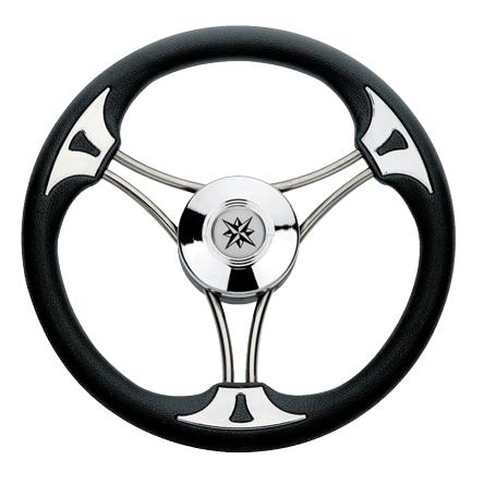 allpa 3-Spaaks stuurwiel Model 23 RVS met zwarte vinyl rand  A=350mm  B=60mm