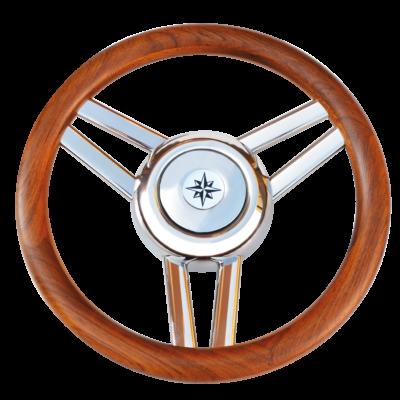 allpa 3-Spaaks stuurwiel Model 26L RVS met houten rand  A=350mm  B=60mm