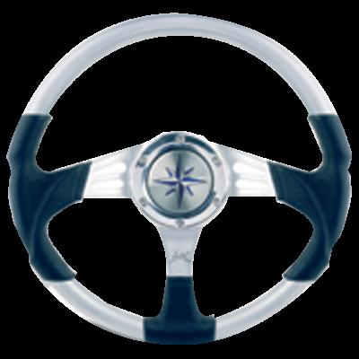 allpa 3-Spaaks stuurwiel Siren zilver aluminium met zwarte polyurethaan grip  A=350mm  B=90mm