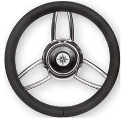allpa 3x-Dubbelspaaks stuurwiel type 27B RVS met zwarte vinyl rand  A=350mm  B=60mm