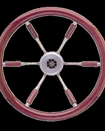allpa 6-Spaaks stuurwiel Leader Prestige RVS met mahoniehouten rand  A=360mm  B=100mm