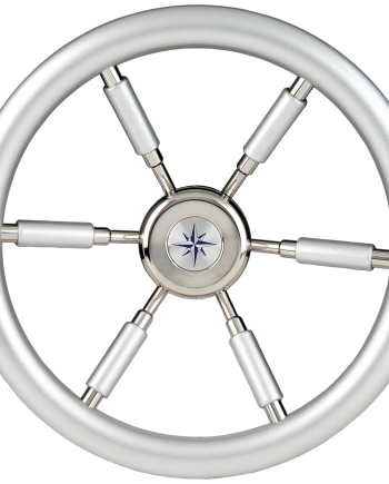 allpa 6-Spaaks stuurwiel Leader Silver RVS met zilver-look rand en deels spaken  A=370mm  B=100mm