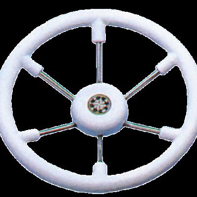 allpa 6-Spaaks stuurwiel Leader Tanegum RVS met witte polyurethaan rand  A=410mm. B=100mm