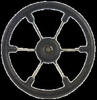 allpa 6-Spaaks stuurwiel Leader Tanegum RVS met zwarte polyurethaan rand  A=410mm. B=100mm