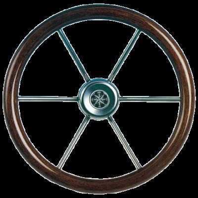 allpa 6-Spaaks stuurwiel Leader Wood RVS met mahoniehouten rand  A=360mm  B=100mm