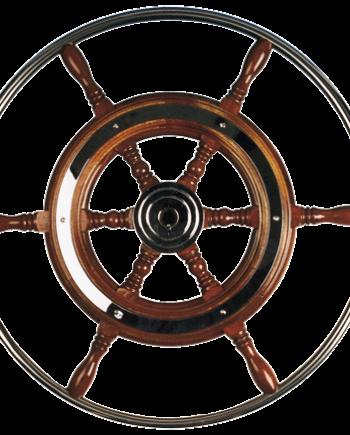 allpa 6-Spaaks stuurwiel type 3 klassiek mahoniehouten stuur  RVS hoepel incl. adapter  D=420mm