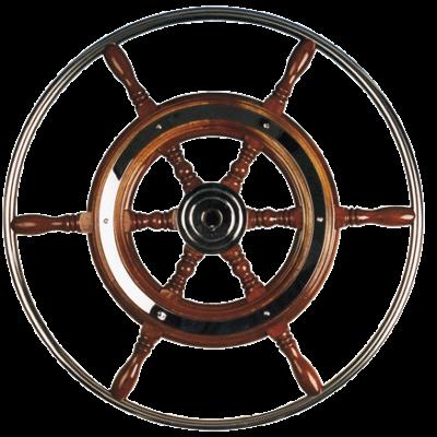allpa 6-Spaaks stuurwiel type 3 klassiek mahoniehouten stuur met RVS hoepel incl. adapter  D=600mm