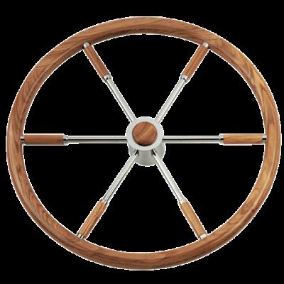 allpa 6-Spaaks stuurwiel type 6 RVS met mahoniehouten rand  vingergrip en adapter voor 2 conussen