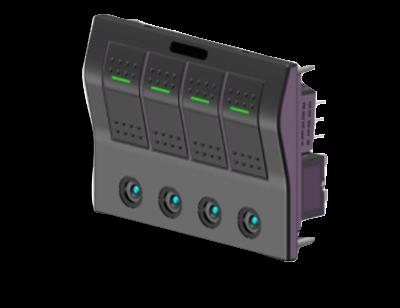 allpa ABS schakelpaneel  auto fuse  12V  4-schakelaars  spatwaterdicht met auto fuse LED indicators