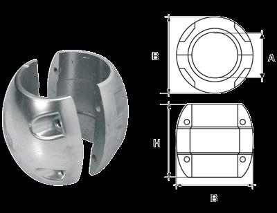 allpa Aluminium Anode voor Ø60mm-as bolvormig