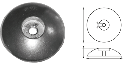 allpa Aluminium ronde roerblad-anode Ø110mm