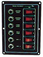 allpa Aluminium schakelpaneel 12V  165x115mm  6-schakelaars (verlicht) & automatische zekeringen