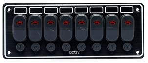 allpa Aluminium schakelpaneel  12V  8-schakelaars & LED-indicators  15A glaszekeringen