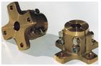 allpa Bronzen klemflens (kruisvormig) voor Ø25mm-as  steek (C) Ø82 5mm  4x Ø10mm (E)