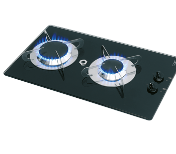 allpa Gaskomfoor met thermische glasplaat 500x300x80mm  branders: 1x medium / 1x groot