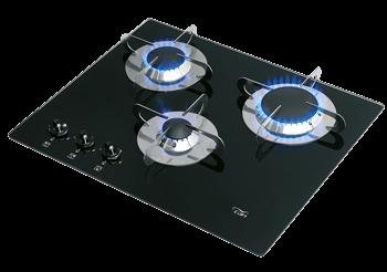 allpa Gaskomfoor met thermische glasplaat 505x410x80mm branders: 1x klein / 1x medium / 1x gro