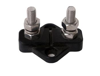 allpa Geïsoleerde aansluitbout twin tinnenplaat op ABS basis 2x 10mm met spacer zwart