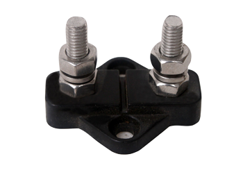 allpa Geïsoleerde aansluitbout twin tinnenplaat op ABS basis 2x 10mm zwart